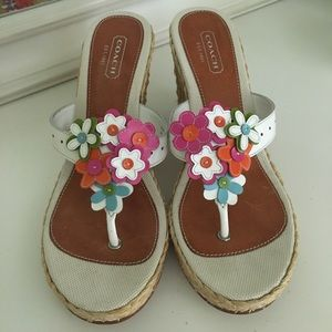 Size 10 Coach  wedge sandals with leather flowers